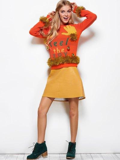 Christmas Jacquard Sweater - ORANGE RED L Mobile