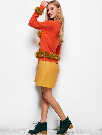 Christmas Jacquard Sweater - ORANGE RED M Mobile