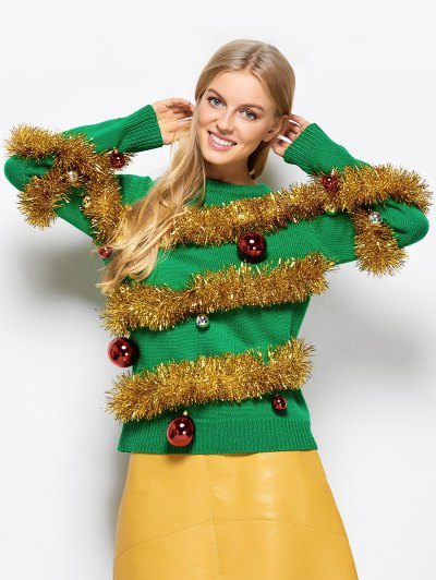 Christmas Crew Neck Pullover Sweater - GREEN M Mobile