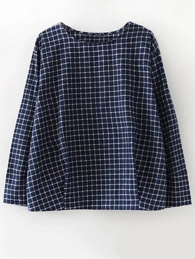 Plaid Letter Embroidered Blouse - PURPLISH BLUE S Mobile