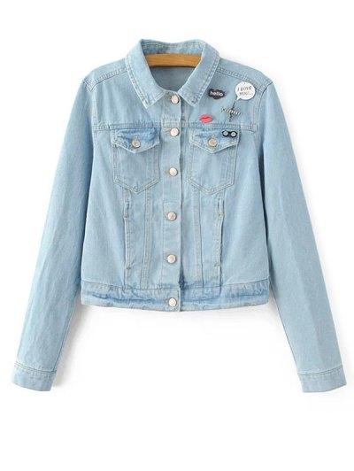 Patch Light Wash Jean Jacket - LIGHT BLUE L Mobile