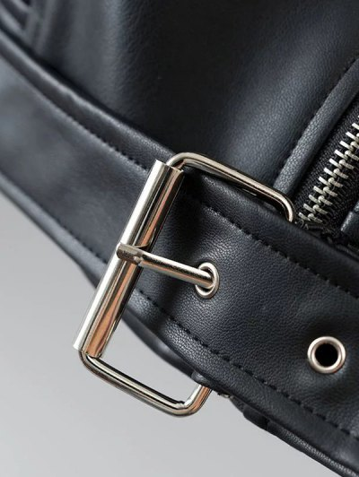 Lapel Collar Fitted Biker Jacket - BLACK S Mobile