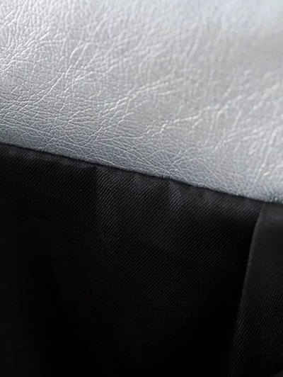 Metal Colour PU Leather Mini Skirt - SILVER L Mobile
