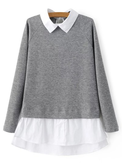 Raglan Sleeves Shirt Neck Panel Jumper - GRAY L Mobile