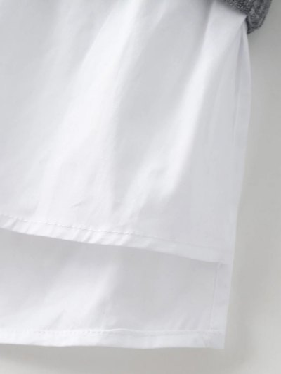 Raglan Sleeves Shirt Neck Panel Jumper - GRAY S Mobile