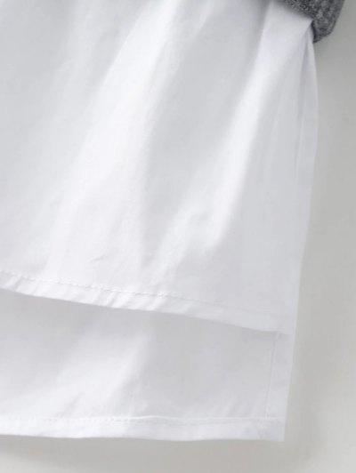 Raglan Sleeves Shirt Neck Panel Jumper - BURGUNDY L Mobile