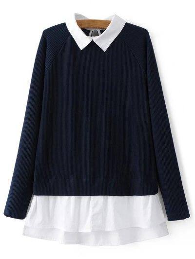 Raglan Sleeves Shirt Neck Panel Jumper - PURPLISH BLUE L Mobile