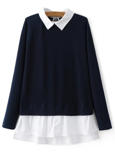 Raglan Sleeves Shirt Neck Panel Jumper - PURPLISH BLUE M Mobile