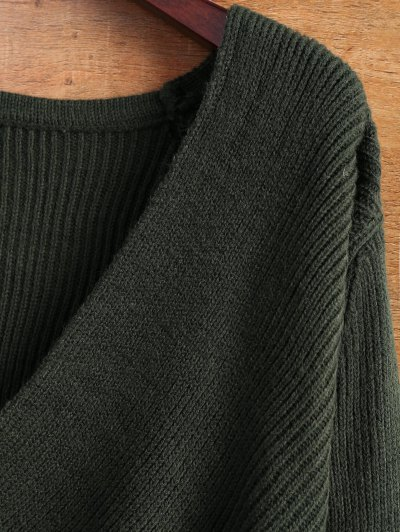 Wrap Ribbed Sweater - GREEN ONE SIZE Mobile