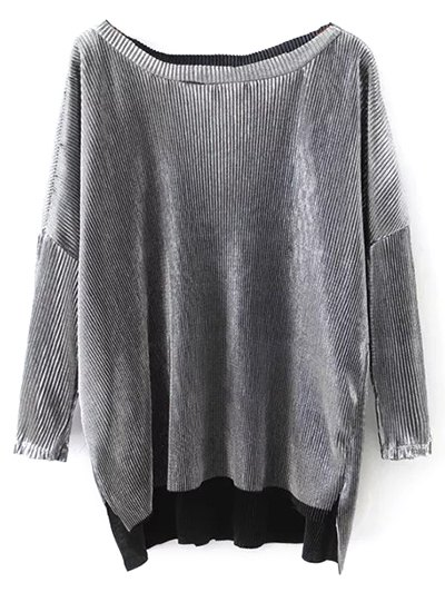 Metallic Color Dropped Shoulder Top - SILVER S Mobile