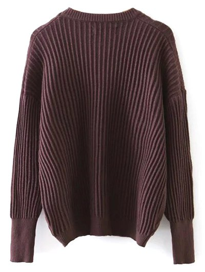 Metal Ring Ribbed Oversized Sweater - COFFEE ONE SIZE Mobile