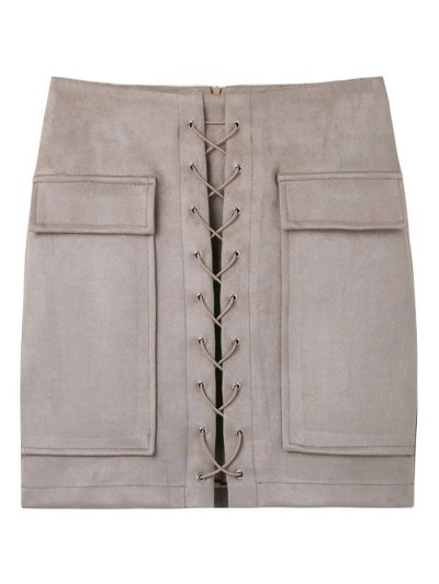 Lace Up Faux Suede Mini Skirt - OFF-WHITE L Mobile