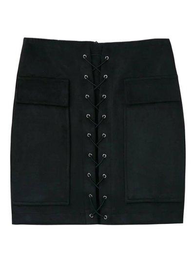Lace Up Faux Suede Mini Skirt - BLACK M Mobile