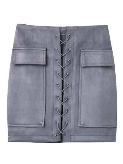 Lace Up Faux Suede Mini Skirt - GRAY S Mobile