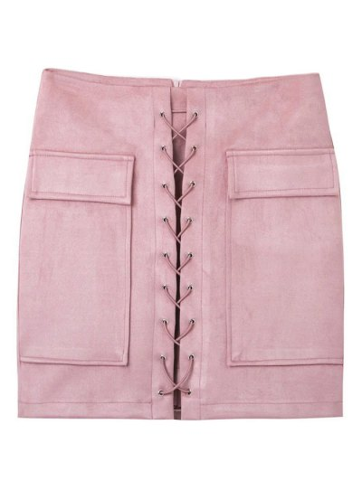 Lace Up Faux Suede Mini Skirt - PINK M Mobile