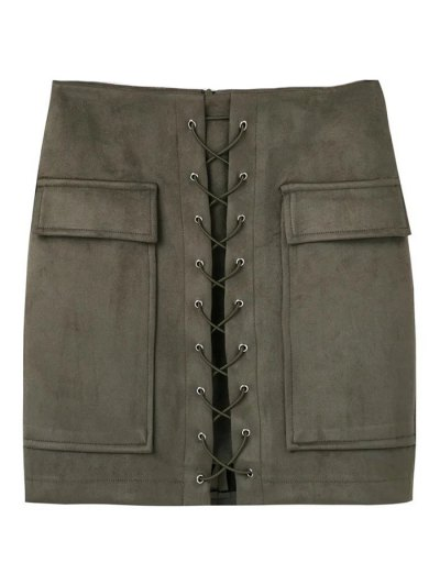 Lace Up Faux Suede Mini Skirt - ARMY GREEN M Mobile