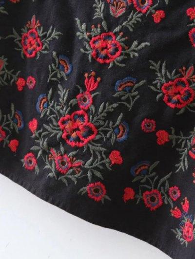 Tiny Floral Embroidered Mini Skirt - BLACK L Mobile