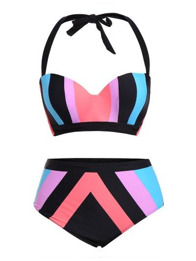 Color Block Halter Plus Size Bikini - COLORMIX 5XL Mobile
