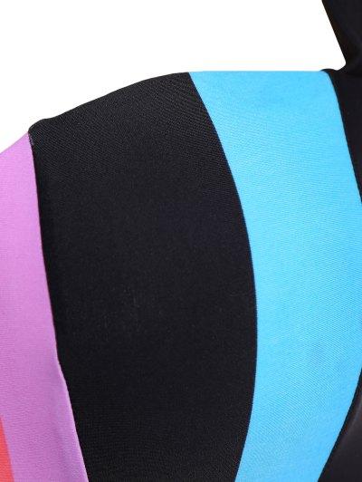 Color Block Halter Plus Size Bikini - COLORMIX 2XL Mobile