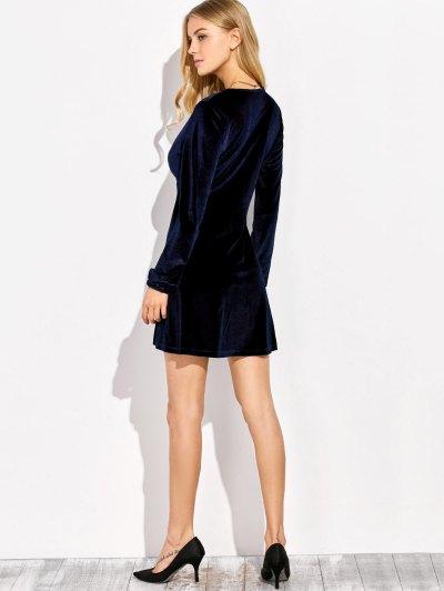 Empire Waist A Line Velvet Dress - PURPLISH BLUE M Mobile