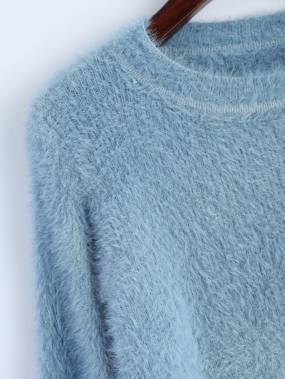 Ombre High-Low Sweater - BLUE ONE SIZE Mobile
