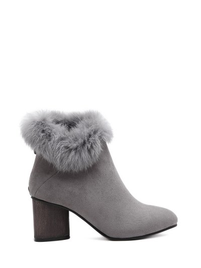 Zip Pointed Toe Faux Fur Ankle Boots - GRAY 39 Mobile
