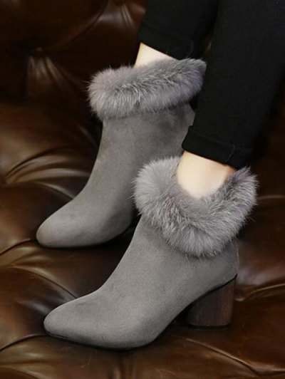 Zip Pointed Toe Faux Fur Ankle Boots - GRAY 38 Mobile