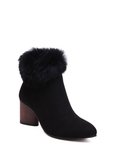 Zip Pointed Toe Faux Fur Ankle Boots - BLACK 39 Mobile