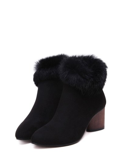 Zip Pointed Toe Faux Fur Ankle Boots - BLACK 38 Mobile