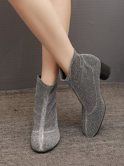 Round Toe Chunky Heel Glitter Ankle Boots - SILVER GRAY 39 Mobile