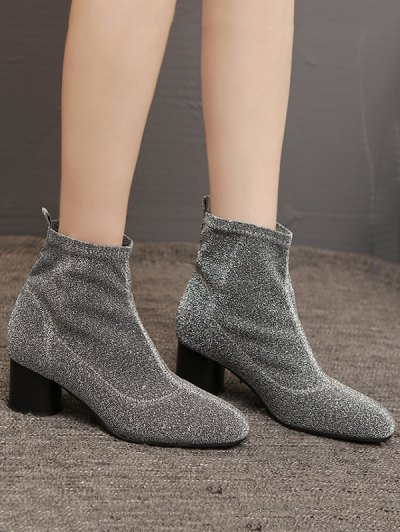 Round Toe Chunky Heel Glitter Ankle Boots - SILVER GRAY 40 Mobile