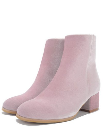 Round Toe Zip Chunky Heel Ankle Boots - PINK 37 Mobile