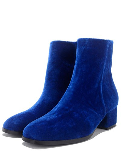 Round Toe Zip Chunky Heel Ankle Boots - BLUE 38 Mobile