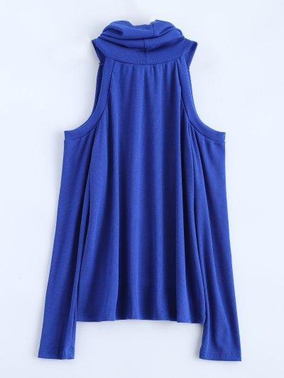 Cold Shoulder Turtle Neck Knitwear - BLUE XL Mobile