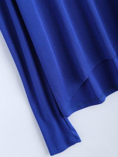 Cold Shoulder Turtle Neck Knitwear - BLUE L Mobile