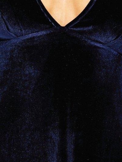 Empire Waist A Line Velvet Dress - PURPLISH BLUE S Mobile