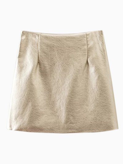 Metal Colour PU Leather Mini Skirt - GOLDEN M Mobile