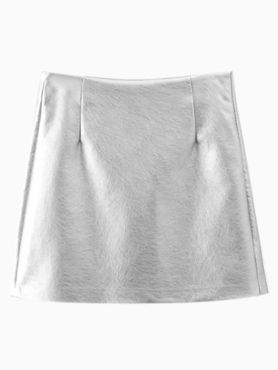 Metal Colour PU Leather Mini Skirt - SILVER M Mobile