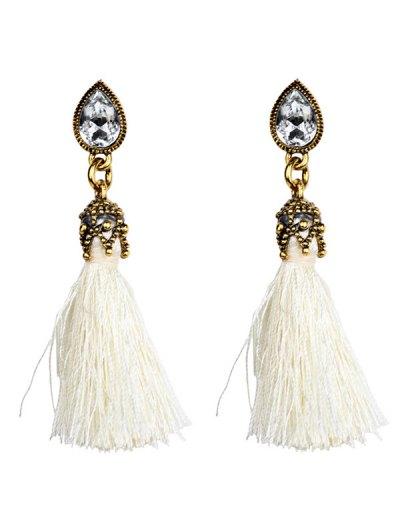 Rhinestone Tassel Water Drop Earrings - WHITE  Mobile