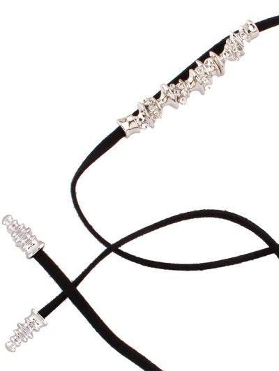 Artificial Leather Rope Rhinestone Choker - BLACK  Mobile