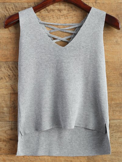 Lace-Up High-Low Vest Sweater - Gray