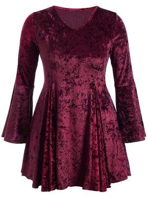 Bell Sleeve V Neck Fit And Flare Velvet Dress - Burgundy
