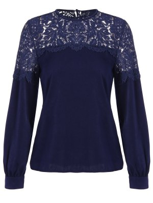 Lace Panel Tee - Purplish Blue