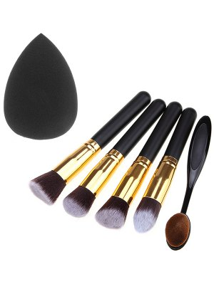 5 Pcs Makeup Brushes Set And Makeup Sponge - Black