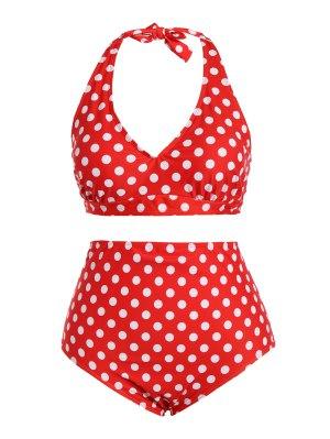 Polka Dot Halter Plus Size Vintage Bikini - Red