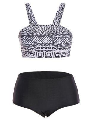 Tribal Print Strap Bikini - Black M