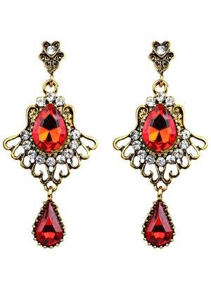 Scallop Water Drop Faux Crystal Earrings - Golden