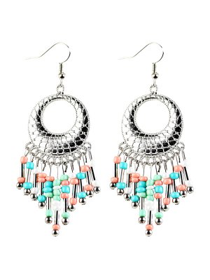Beads Tassel Snakeskin Circle Drop Earrings