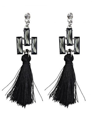 Tassel Faux Crystal Dangle Earrings - Black