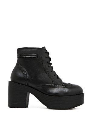 Engraving Plarform Chunky Heel Boots - Black